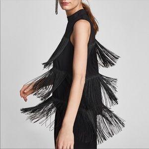 ZARA Black fringe top